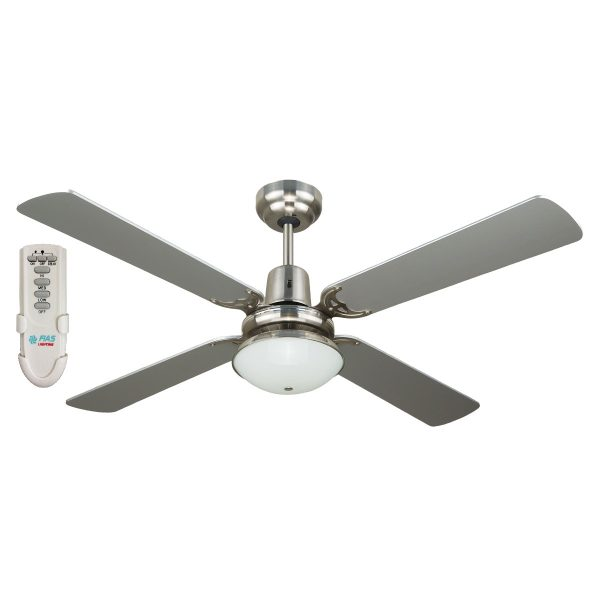 fias ramo 48 inch ceiling fan with light and remote control silver