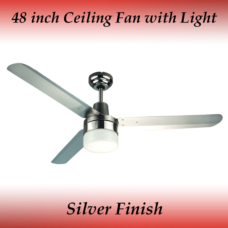 Sparky 48 Inch 3 Blade Silver Stainless Steel Ceiling Fan
