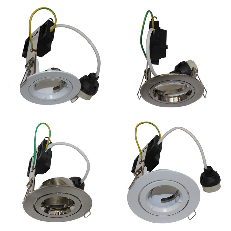 240V LED Recessed Downlight Frames with GU10 LED Connector in White ...