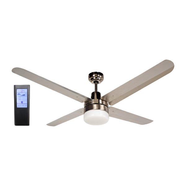 Blizzard 4 Blade 56 Inch 316 Marine Grade Stainless Steel Ceiling Fan With Light Black Touch Pad Remote