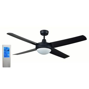 Rotor LED Light 52'' Black Ceiling Fan with ABS Blades + WH Touch Pad Remote - ROTORBLK2 - TWHRem